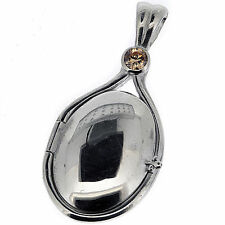 .925 Sterling Silver Brown CZ Locket H2O Just Add Water Mermaids Pendant(S)