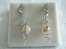 Clogau Sterling Silver & 9ct Welsh Gold Plum Blossom Pearl Drop Earrings