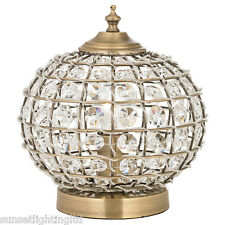 Moroccan Style Tanaro Antique Brass & Crystal Beading Table Lamp Light
