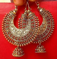 Vintage Ethnic Jewelry Gold Tone Oxidized Indian Pearl Earrings Jhumka Jhumki