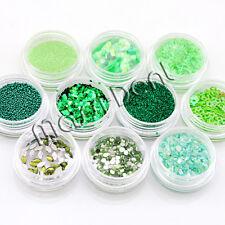 Glitzer Steine Sterne Perlen  usw. 10 döschen Nailart Nagelstudio Grün