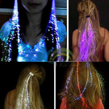 12x LED Hair Extensions Girls Gift Party Bag Clip Pony Tail Fiber Optic Light Up