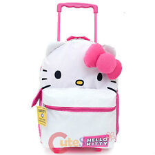"Hello Kitty Face School Roller Backpack Large 16"" Rolling Bag :Iconic Collection"
