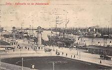 Stettin Hafenpartie vor der Hakenterrasse Schiffe Dampfer 1912