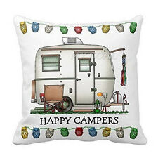 Happy Campers Square Throw Sofa Linen Pillow Case Cushion Cover Home Room Decor