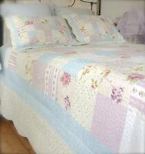 King Bed Shabby Pastel Farm House Chic Multi Pink Patchwork Quilt Bedspread Set