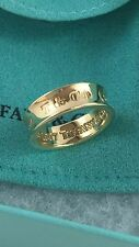Tiffany & Co 18K Yellow Gold 1837 Band Ring. 6mm Wide. Size 5.5. Retired