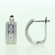 Sterling Silver 925 Triple Row Round & Baguette CZ Huggie Hoop Earrings RRP $135