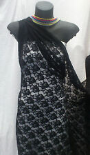 BLACK FLORAL PRINT STRETCH LACE FABRIC : 138CM W :Selling By the 1/2 mtr : RML1B