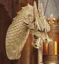 Horned Dragon Wall Mounted Ornament Sculpture Head In/Outdoor Gothic Decor