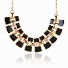 Gold Plated Black Enamel Elegant Cluster Bib Collar Statement Pendant Necklace