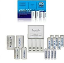 10 Panasonic Eneloop Rechargeable batteries and AA AAA Ni-Mh Charger + C D adapt