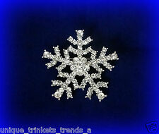 VINTAGE STYLE CLEAR WHITE CRYSTAL SILVER SNOWFLAKE CHRISTMAS GIFT PIN BROOCH