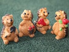 Four Happy Hedgehogs for a Dolls House, Miniatures, Pets & Animals 1.12 Scale