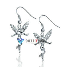 Silver Color 18K White Gold Plated Austria Crystal Tinkerbell Earrings Jewelry