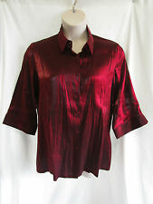 Red & Black Metallic Blouse, Collar, Buttons, Splits, 3/4 Sl, Size 20, Exc Cond