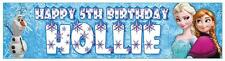 """2 x PERSONALISED FROZEN BANNERS 3ft - 36 """"x 11"""" PARTY BIRTHDAY ANNA, ELSA & OLAF"""