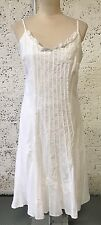 MARKS & SPENCER PER UNA WHITE STRAPPY FLORAL EMBROIDERED MIDI DRESS UK 14 HB277