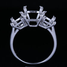 Three Stones 10x8mm Cushion Semi Mount Engagement Fine Ring Solid 14K White Gold