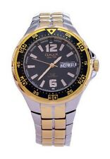 OMAX Men's Gold Silver Metal Black Dial Swiss Wrist Watch Analog Quartz Day Date