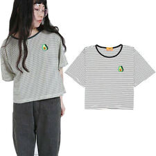 Women Avocado Embroidery Short Sleeve T-Shirt Striped Tops Tees Loose Casual
