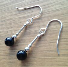 Round Black Onyx Gemstone & Sterling Silver Hook Drop Earrings