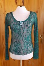 PER UNA petrol blue green floral lace mesh long sleeve tunic top STEAMPUNK 10 38