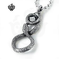 Silver stainless steel gothic snake clear simulated diamond pendant necklace