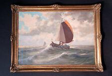 Original altes Ölgemälde: Holländische Fischerboote auf See. Sign.+Prunkrahmen
