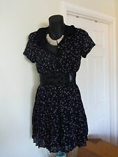Black Volcom Surfie Punk Pleated Lace Festival Cambridge Dress Like New Size 8