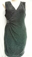 Crossroads Lined black SILVER metalic shimmer DIAMONTE wrap stretch DRESS 22
