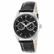 Lucien Piccard 12761-01 Black Genuine Leather and Dial Men's Quartz Watch