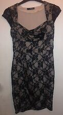 JANE NORMAN Black Cream Floral Lace Wiggle Dress Size 10
