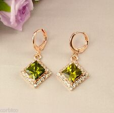 E3 18K ROSE GOLD PLATED DANGLE EARRINGS with PERIDOT GREEN ZIRCONIA CRYSTALS