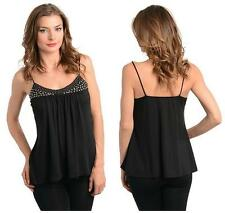 Flared Black BabyDoll Singlet Top with Silvery Studs & Stones Size 10-12 BNWT