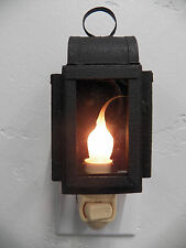 Country Primitive Rustic Lantern Night Light w/ Glass Sides & Silicone Bulb