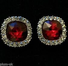 C19. Silver plated stud with white & ruby red Austrian crystals in GIFT BOX