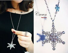 Silver Sweater Chain Snowflake Long Necklace Made With Swarovski Crystal N212