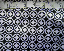 "Black & White Geometric Polyester Satin 60""  Wide Crafts by Metre Monochrome 60s"