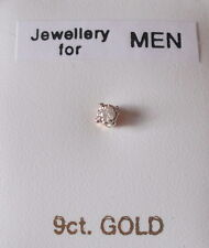 Brand New Gent's 'SINGLE' 9ct Gold & 0.05ct Diamond 2.5mm Square Stud Earring