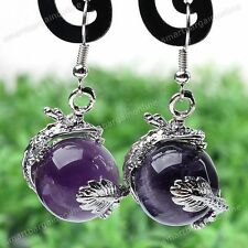 Natural Amethyst Gemstone Silver Dragon Hook Dangle Earring Ear Drop Jewelry