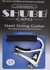 SHUBB C1 ORIGINAL NICKEL FINISH CAPO FOR STEEL STRING ACOUSTIC GUITARS -USA MADE