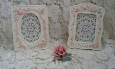 2 Standing Picture Photo Frames Chic Shabby Roses Floral White Pink Cottage