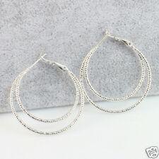 35 mm, White Gold Filled Double Hoop Medium/Large Simple Hoop Earrings