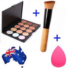 15 Colors Contour Face Cream Makeup Concealer Palette Sponge Puff Powder Brush K