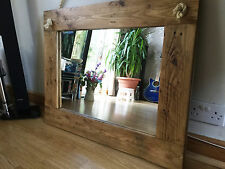 Beautiful Rustic Wall Mirror - Solid Wood with Oak Finish