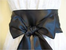 "3.5""X60""BLACK SATIN SASH BOW BELT UPDATE PARTY PROM DRESS SKIRT BRIDAL SELF TIE"