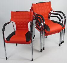 1 Stuhl Designer Bürostuhl PU verchromt Lederstuhl mit Lehne neu B - Ware !!!