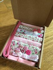 """Patchwork Craft Kit Pretty Pink 4"""" Fabric Squares Ribbon Buttons Floral Gift"""