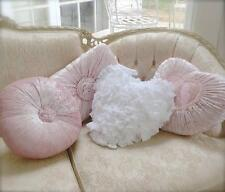 Shabby French Chic Country White Vintage Rag Plush Heart Cushion Toss Pillow New